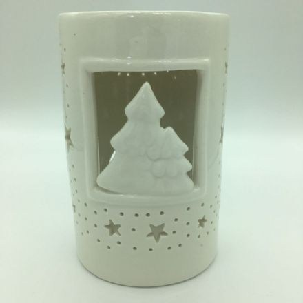 White Ceramic Christmas Scene Wax Burner & Melts